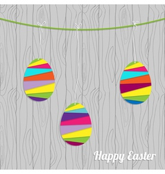 easter card with eggs on the wood vector image