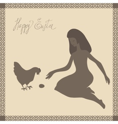 Easter card with girl and chicken in light-brown vector image