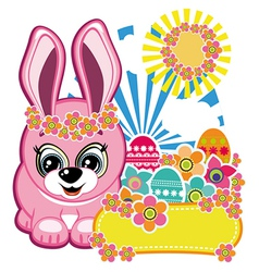 Easter greeting card the rabbit vector