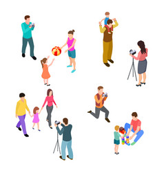 family photo shoot isometric parents with vector image