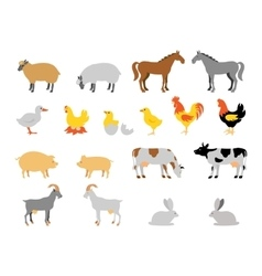 Farm animal collection set Flat style character vector
