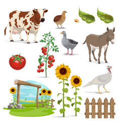farm field animals and vegetables agriculture vector image