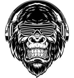 ferocious gorilla in headphones vector image
