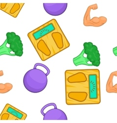 Fitness elements pattern cartoon style vector image