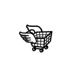 Flying cart logo vector