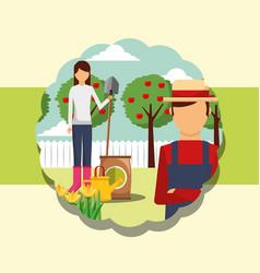 Gardeners man and woman shovel fertlizer watering vector