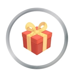 Gift icon in cartoon style isolated on white vector image