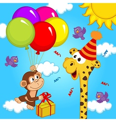 giraffe celebrating birthday vector image vector image