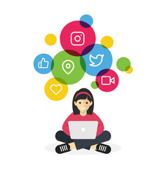 girl sitting with laptop browsing social media vector image