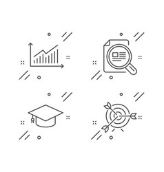 Graduation cap graph and check article icons set vector