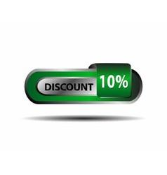 Green 10 percent discount button ten percent vector image