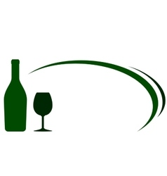 green wine bottle and glass background vector image