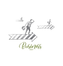 Hand drawn business people on arrow with lettering vector image
