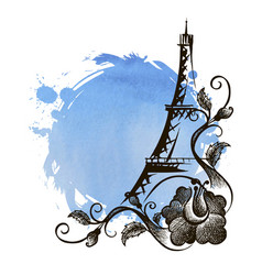 hand drawn eiffel tower paris vector image