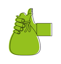 Hand holding canvas bag icon image vector