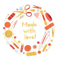 handmade needlework concept creative hobtools vector image