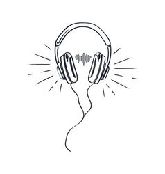 Headphones headset with music playing loud sketch vector