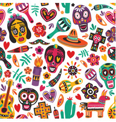 Holiday seamless pattern decorated by mexican vector