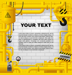 industrial frame with yellow pipelines and other vector image