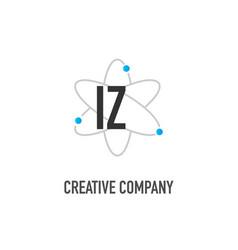 Initial letter iz atom neutron design logo vector