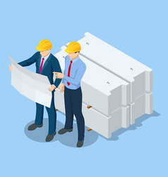 Isometric construction engineers and builders in vector