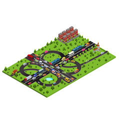 Isometric highway traffic template vector