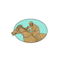 jockey horse racing oval drawing vector image
