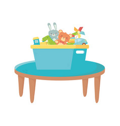 Kids zone table with box filled bear rabbit vector