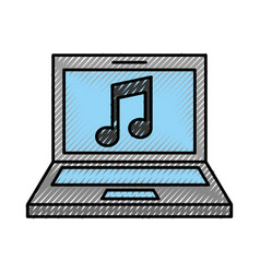 laptop computer with music note isolated icon vector image