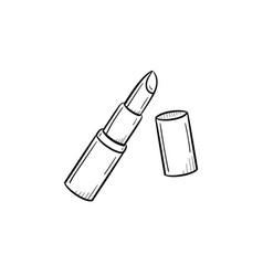 Lipstick hand drawn sketch icon vector