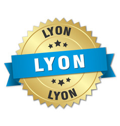 Lyon round golden badge with blue ribbon vector