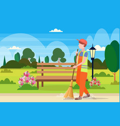 Male street cleaner holding broom man sweeping vector