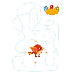maze game for children bird and nest with chicks vector image