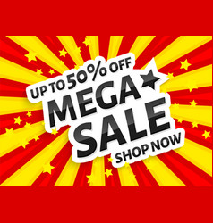 Mega sale poster banner on sun rays background vector
