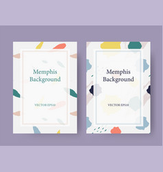 Memphis style card background template vector