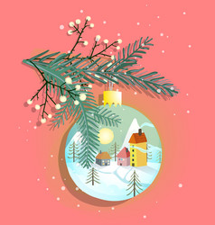merry christmas ball with countryside romantic vector image