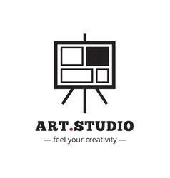Minimalistic art studio logo Easel vector