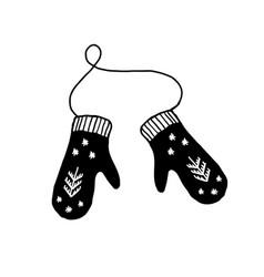 mittens with snowflakes minimalist scandinavian vector image