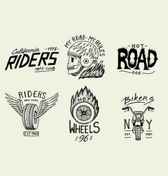 Motorcycles and biker club templates vintage vector