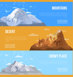 mountain landscape flyers with high peaks vector image
