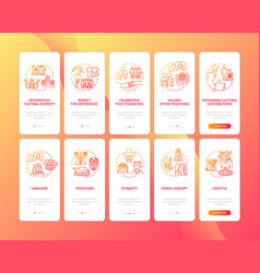 Multi cultural unity onboarding mobile app page vector