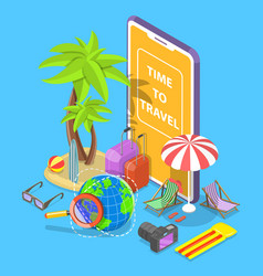 online tour searching flat isometric vector image