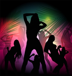 party silhouette girl vector image vector image