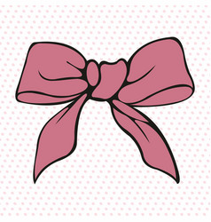 Pink bow stylized element vector