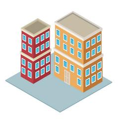 Residence buildings isometric vector