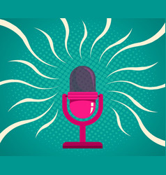 Retro pink microphone vector