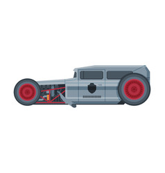 retro style gray car old racing sports automobile vector image