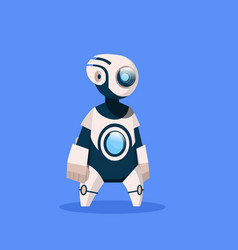 Robot cute cyborg isolated on blue background vector