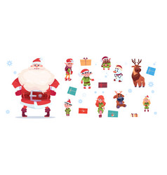 santa claus with elfs set isolated characters on vector image