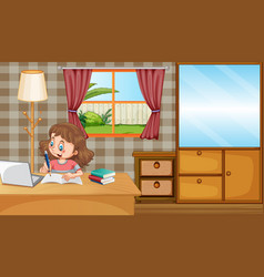 Scene with girl working on homework at home vector